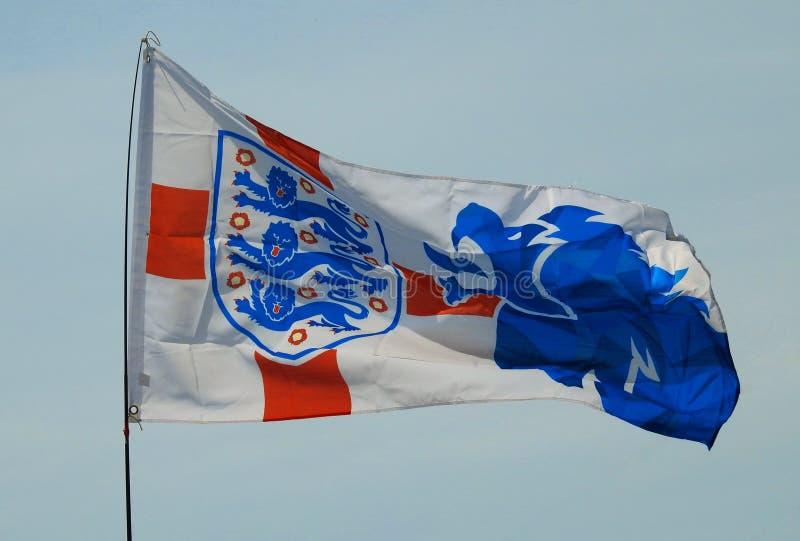 Futebol internacional Team Three Lions Flag de Inglaterra fotografia de stock royalty free