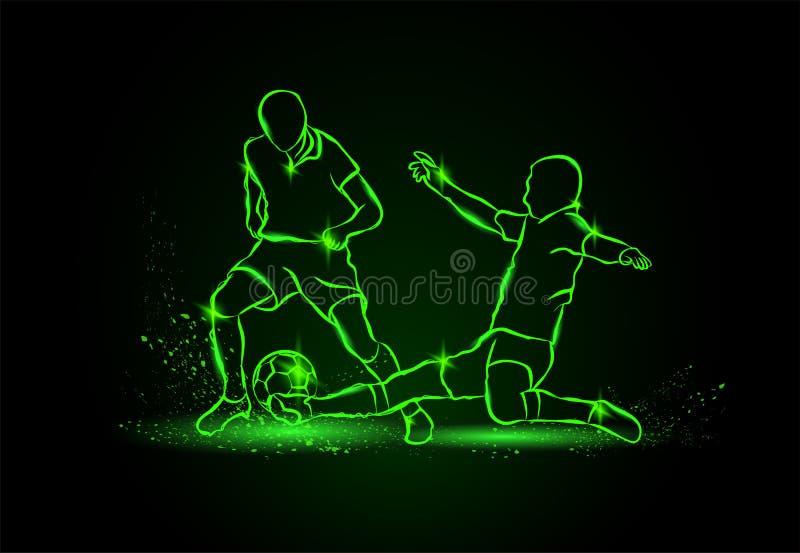 Futebol Luta para a bola tackle Estilo de néon ilustração royalty free
