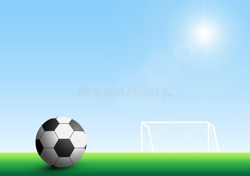 Futebol no campo de grama verde na frente do objetivo na ilustração do vetor do fundo do céu azul ilustração do vetor