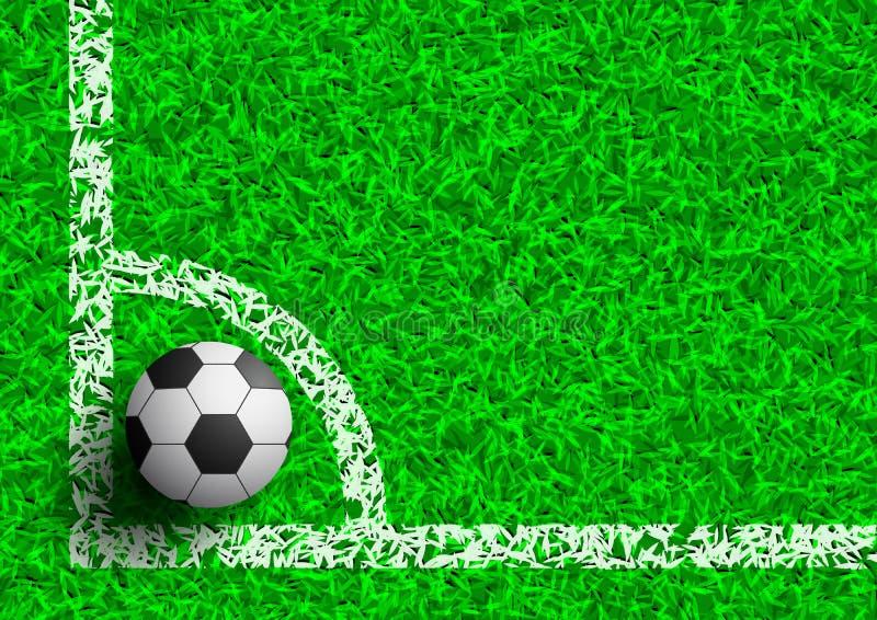 Futebol no canto na ilustração do vetor do campo de grama verde ilustração stock