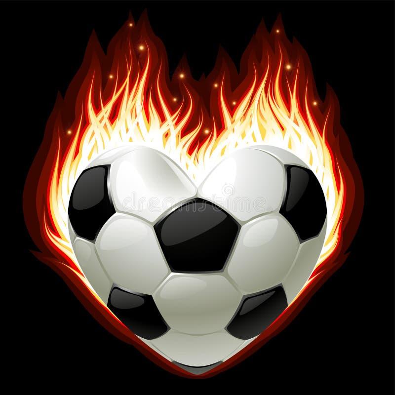 Futebol no incêndio na forma do coração ilustração royalty free
