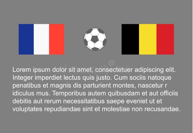 Futebol - o homem feliz do fundo do futebol mantém a bandeira, stackman france do vetor contra o final 1/2 de Bélgica semi ilustração royalty free