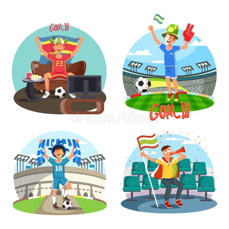 Futebol ou fan de futebol que comemoram e que cheering ilustração stock
