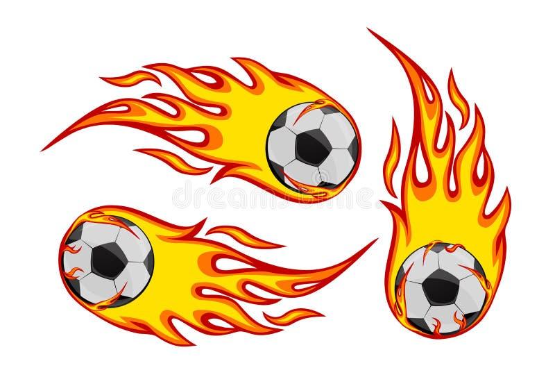 Futebol Socker no fogo foto de stock royalty free