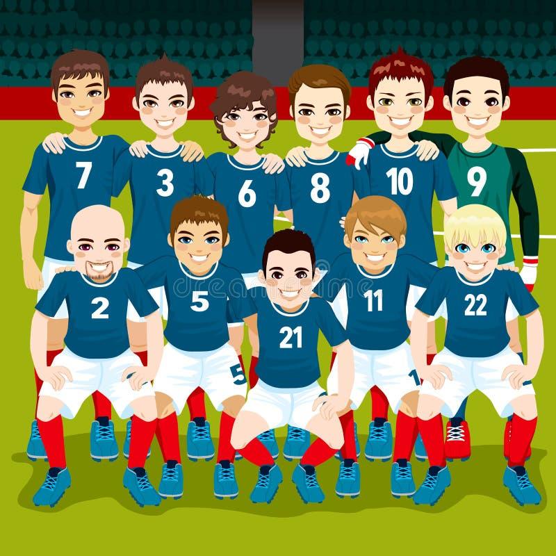 Futebol Team Posing ilustração stock