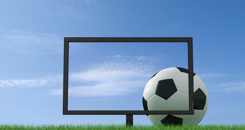 Futebol vivo na tevê cheia do lcd do hd ilustração do vetor
