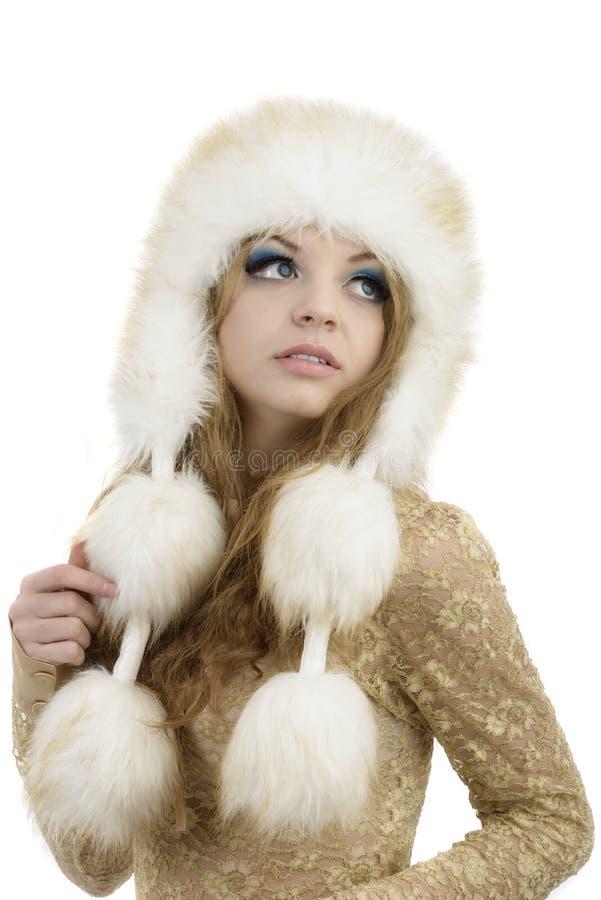 Futerkowy moda kapelusz. Piękna dziewczyna w Owłosionym kapeluszu. Zimy kobieta Portr obrazy stock