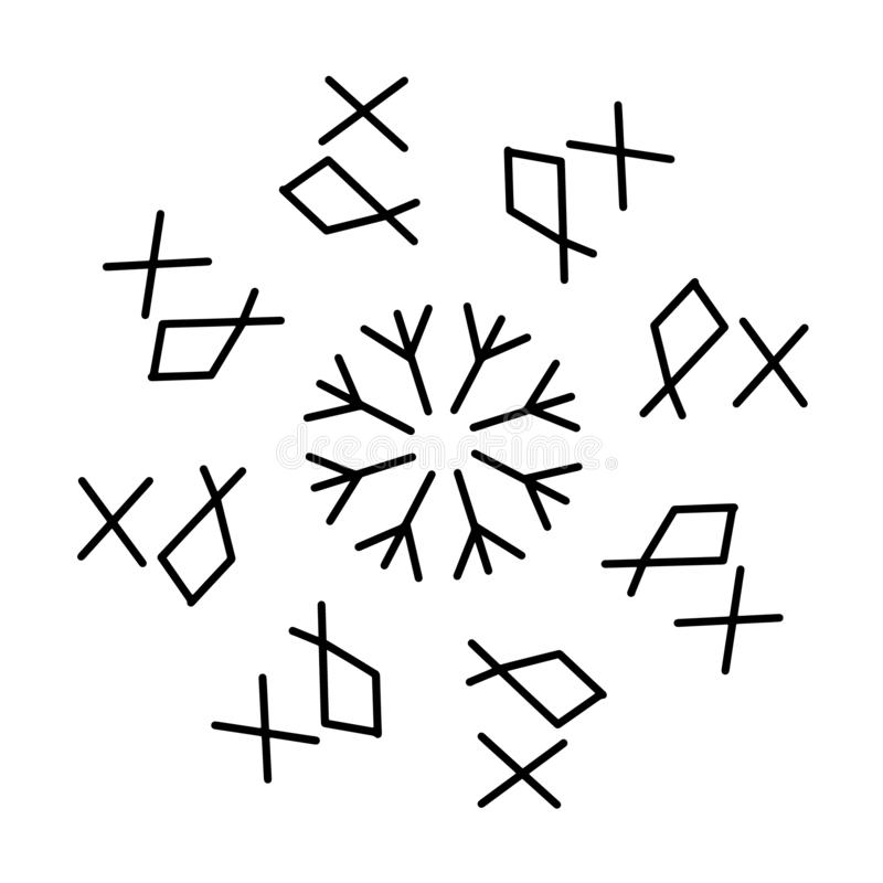 Futhark norse islandic and viking runes set. Magic hand draw symbols as scripted talismans. Set of ancient runes of Iceland. Galdrastafir, mystic signs of vector illustration