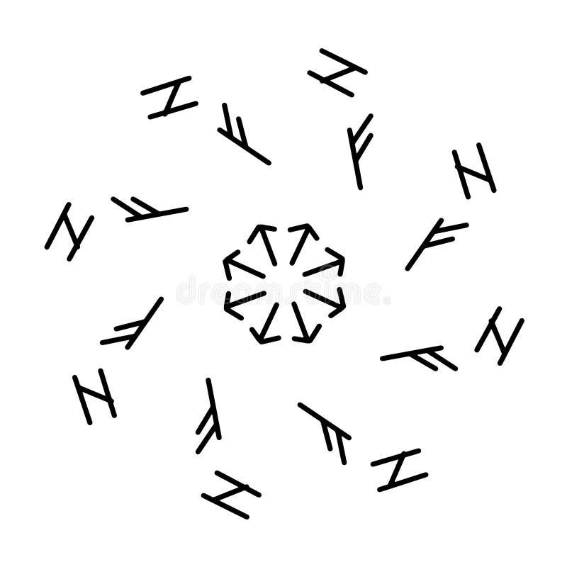 Futhark norse islandic and viking runes set. Magic hand draw symbols as scripted talismans. Set of ancient runes of Iceland. Galdrastafir, mystic signs of royalty free illustration