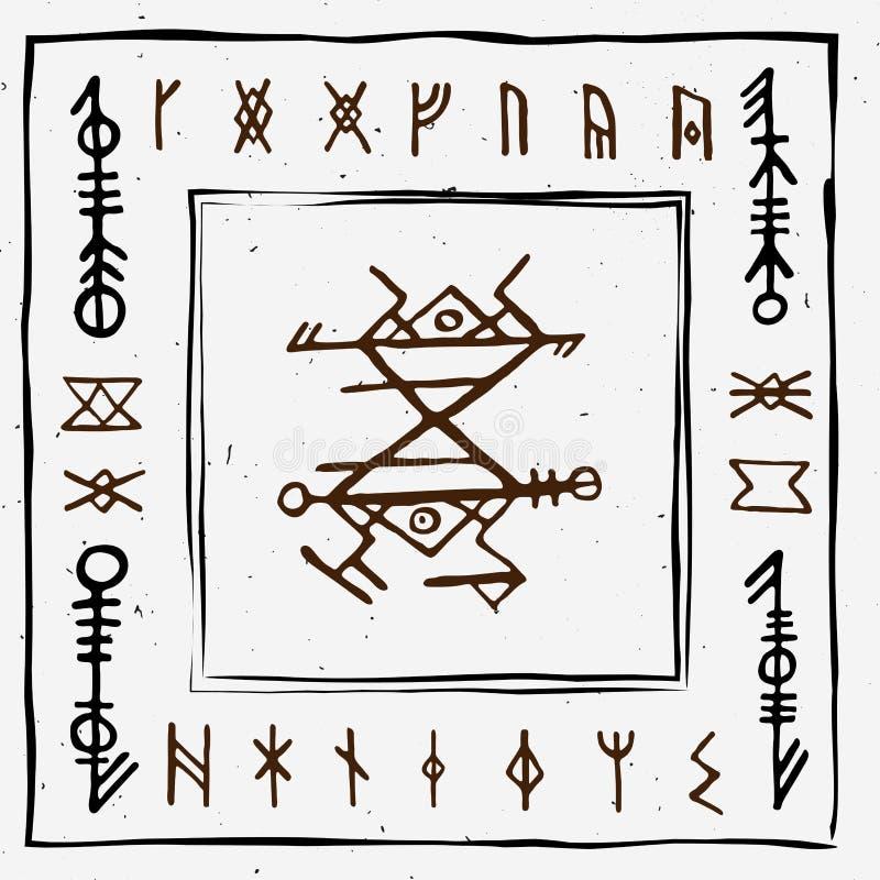 Futhark norse islandic and viking runes set. Magic hand draw symbols as scripted talismans. Vector set of ancient runes. Of Iceland. Galdrastafir, mystic signs vector illustration