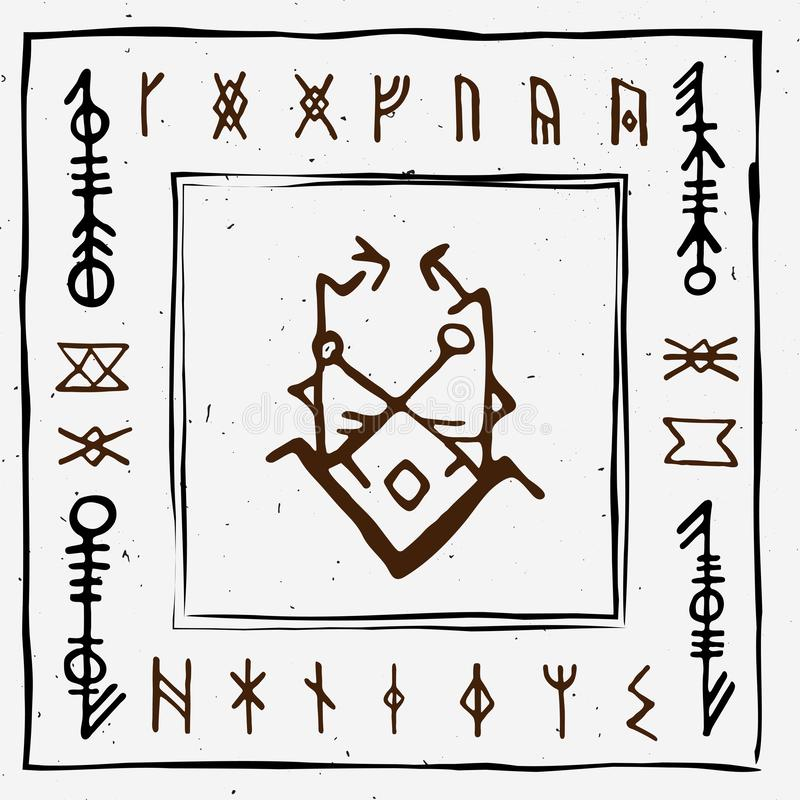 Futhark norse islandic and viking runes set. Magic hand draw symbols as scripted talismans. Vector set of ancient runes. Of Iceland. Galdrastafir, mystic signs royalty free illustration