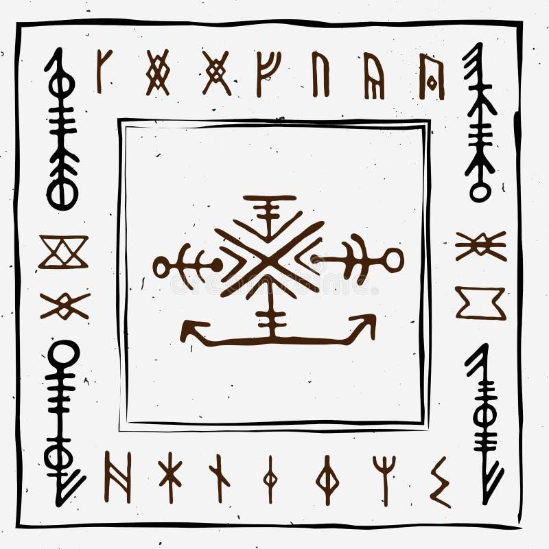 Futhark norse islandic and viking runes set. Magic hand draw symbols as scripted talismans. Vector set of ancient runes. Of Iceland. Galdrastafir, mystic signs stock illustration