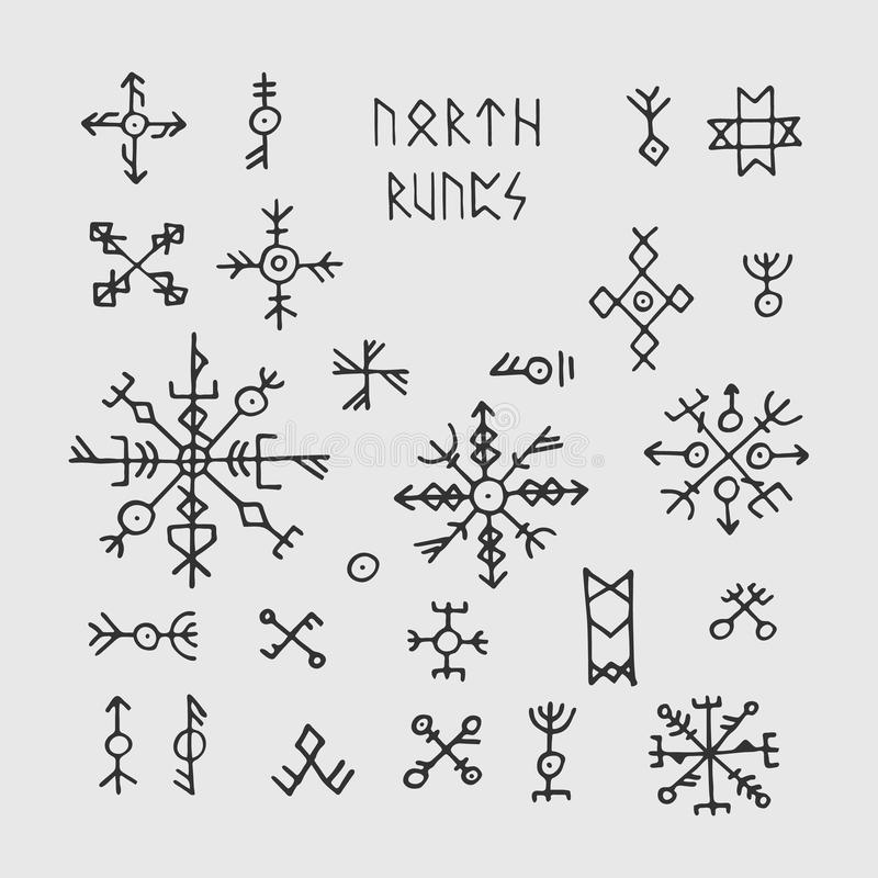 Futhark Norse Viking Runes And Talismans Nordic Pagan Vector Occult