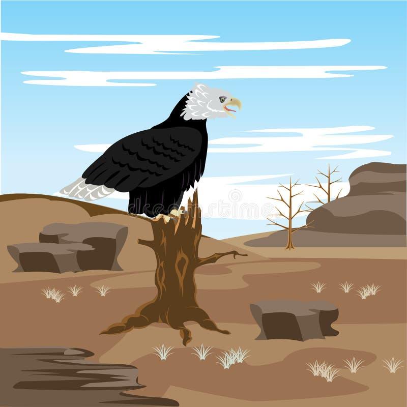 Futlooze woestijn en adelaar op boom stock illustratie