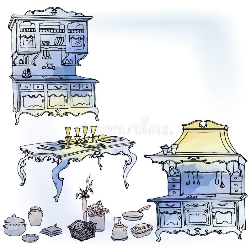 Futniture för vattenfärg för kökprovanzeblått stock illustrationer