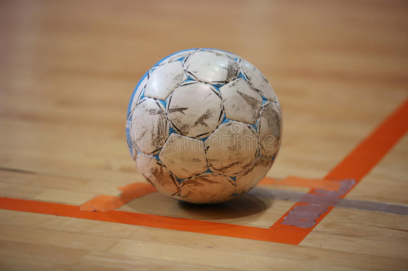 The futsal ball on the corner royalty free stock photography