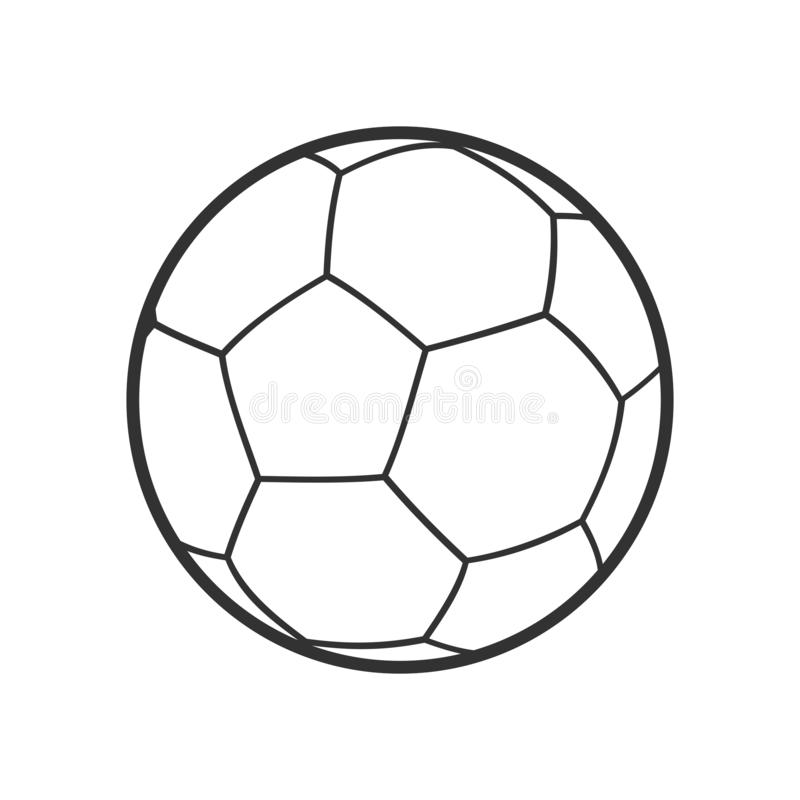 Futsal Ball Outline Flat Icon on White vector illustration