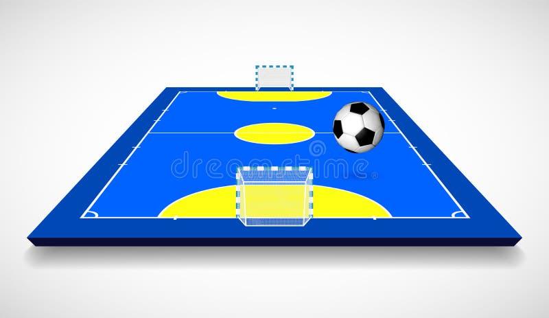 Futsal domstol eller fält med illustrationen för vektor för bollperspektivsikt royaltyfri illustrationer