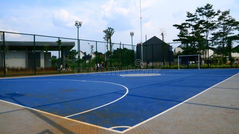 Futsal Field in Depok. Depok, Indonesia - April 14, 2019: Futsal field at Alun-Alun Depok green open space in Grand Depok City, West Java royalty free stock photography