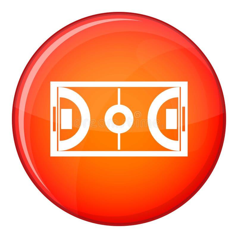 Futsal or indoor soccer field icon, flat style royalty free illustration