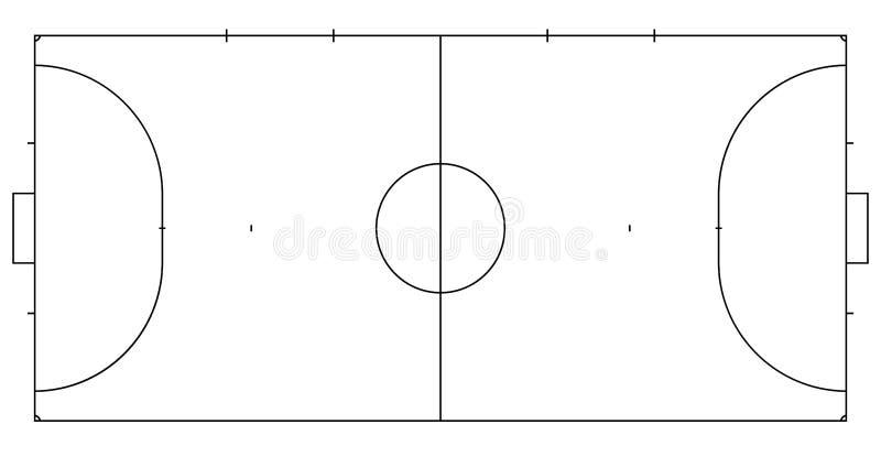 Futsal o mini línea corte del fútbol Margen de beneficio para el juego de futsal Fondo del deporte ilustración del vector