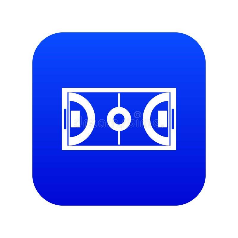 Futsal ou bleu numérique d'icône de champ de football en salle illustration libre de droits