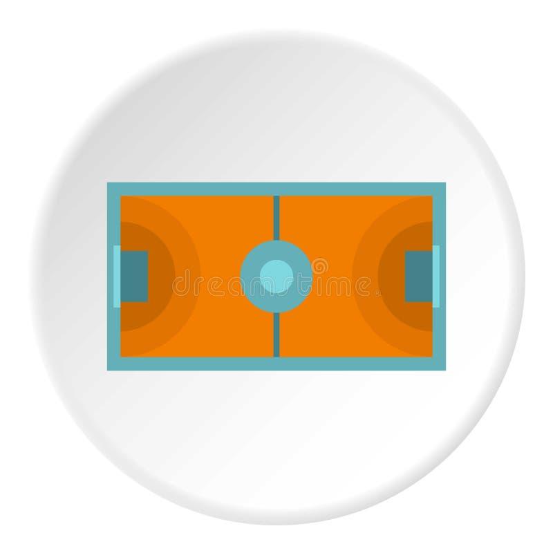 Futsal ou cercle d'icône de champ de football en salle illustration de vecteur