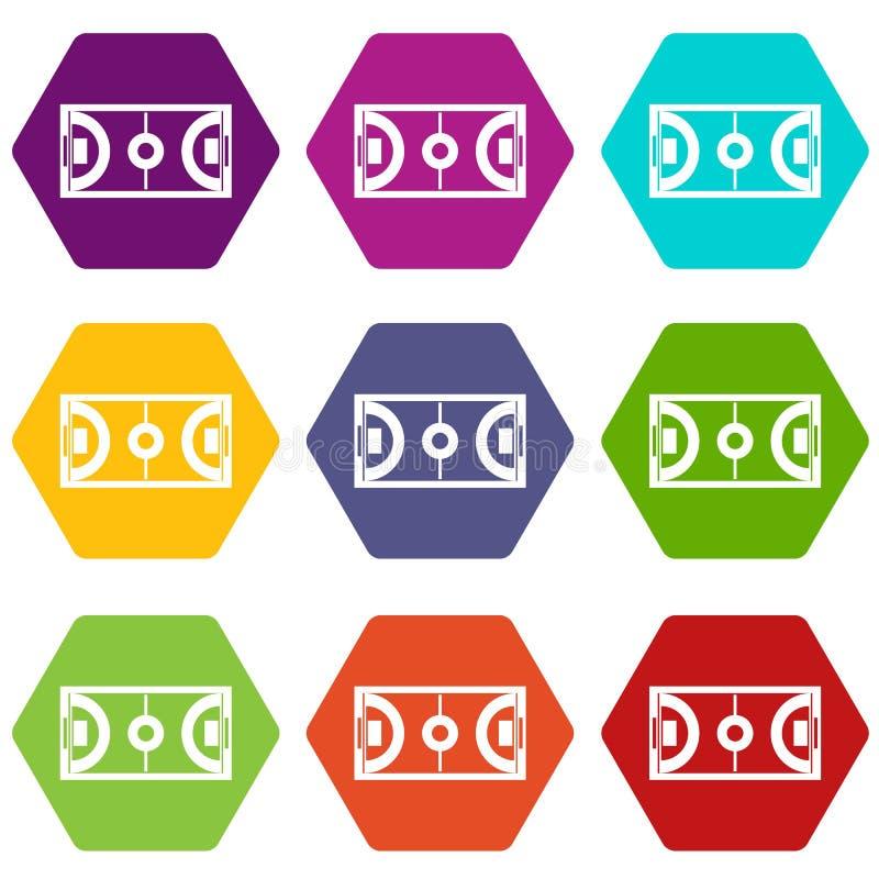 Futsal ou hexahedron réglé de couleur d'icône de champ de football en salle illustration libre de droits
