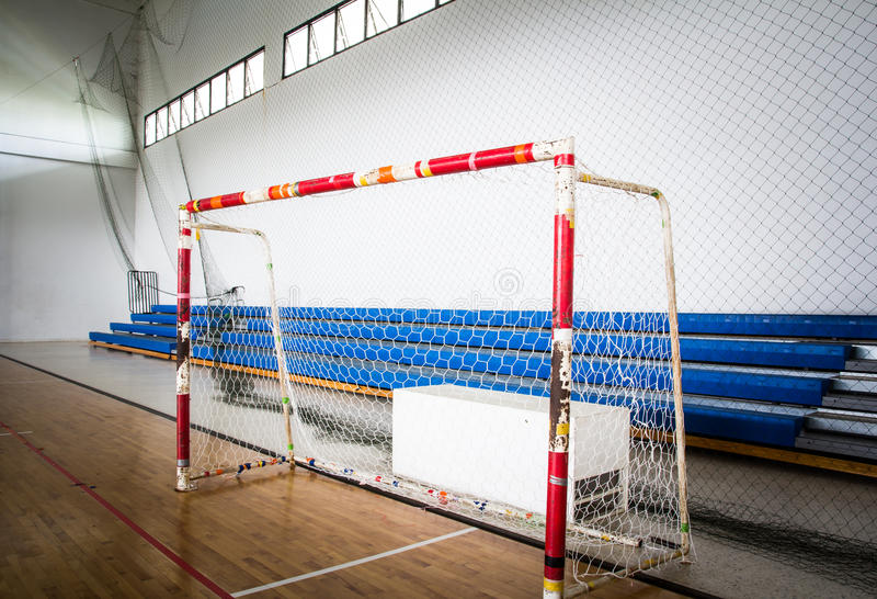 Futsal soccer goal stock photo