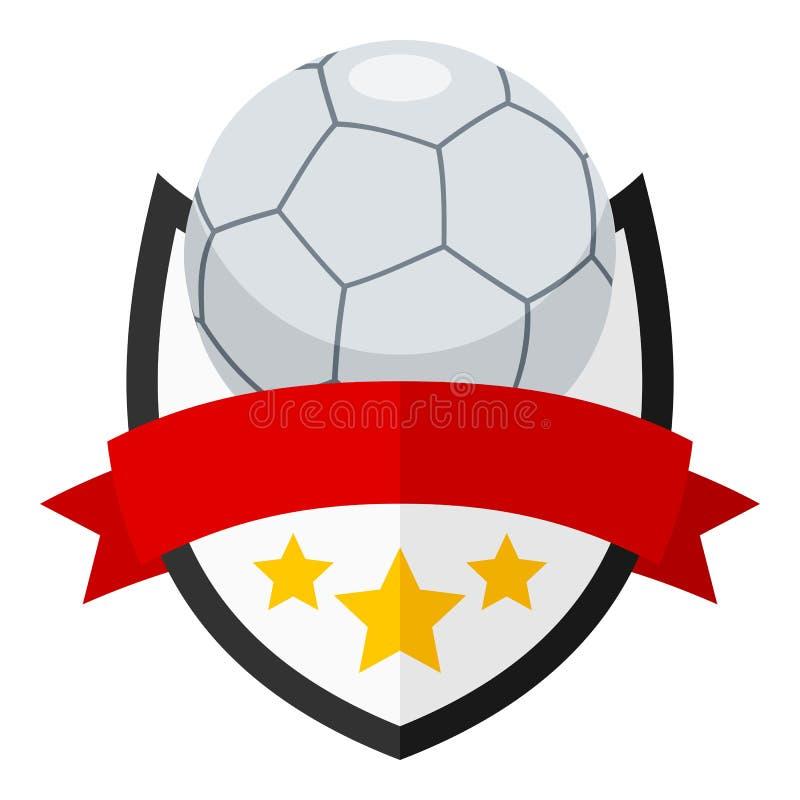 Futsals-Ball-flaches Logo mit Band auf Weiß vektor abbildung