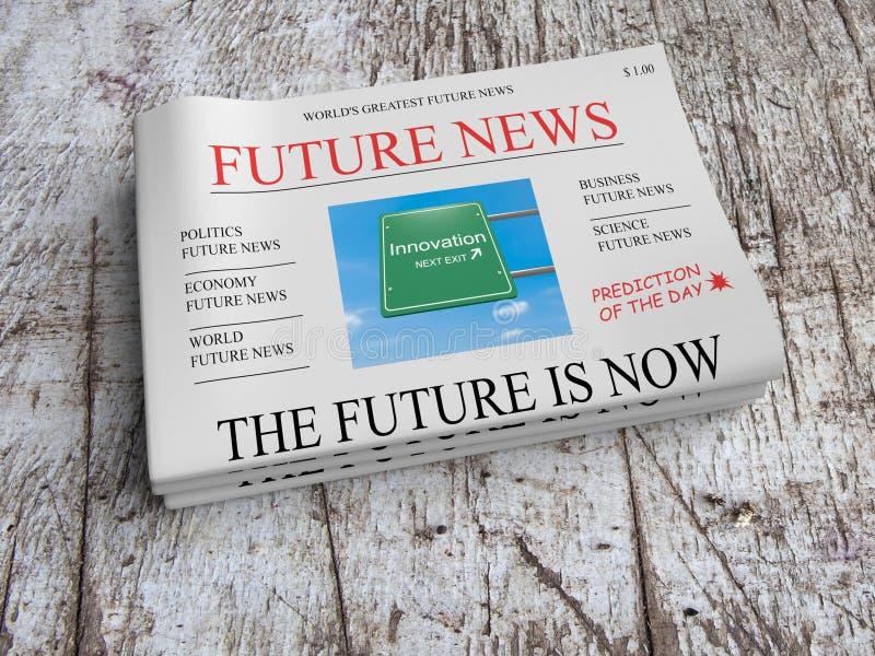 Futur concept d'affaires de journal : Innovation - l'avenir est maintenant illustration stock