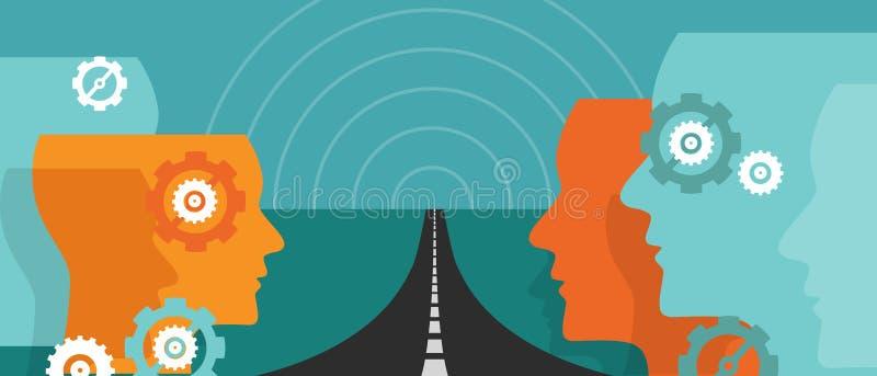 Futur concept de route en avant de l'incertitude de vision de chef de voyage de plan d'espoir de changement illustration de vecteur