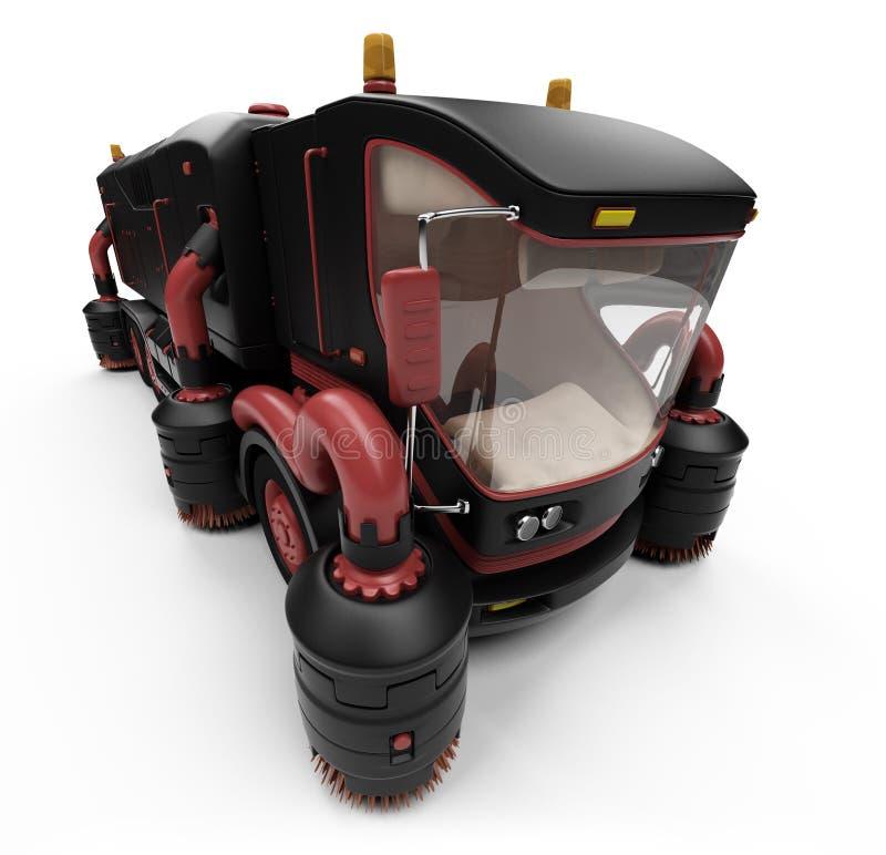 Futur concept de vue d'isolement par camion de lavage illustration libre de droits