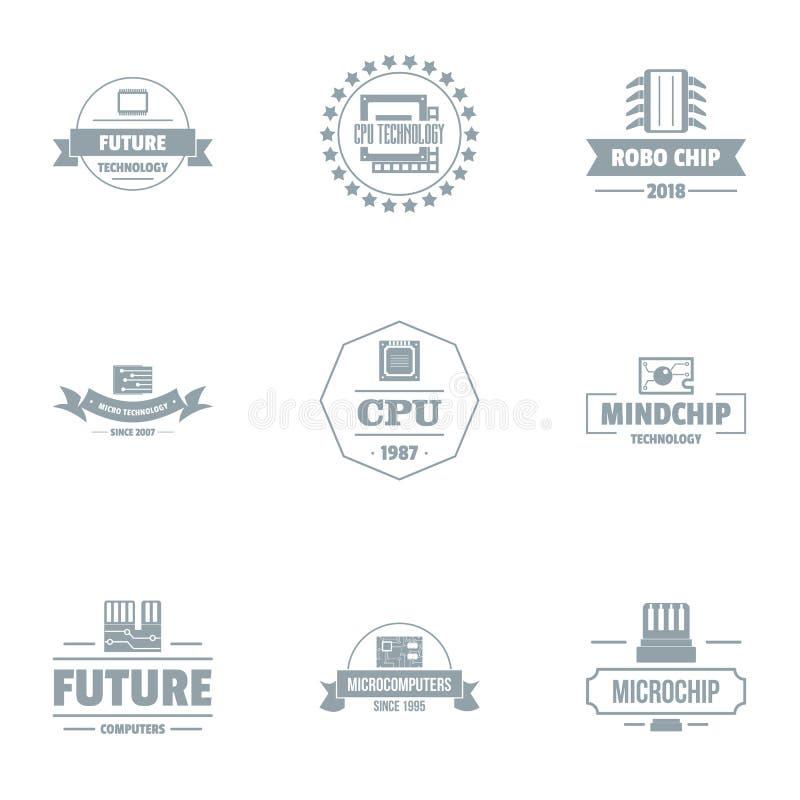 Futur ensemble de logo d'unité centrale de traitement, style simple illustration de vecteur