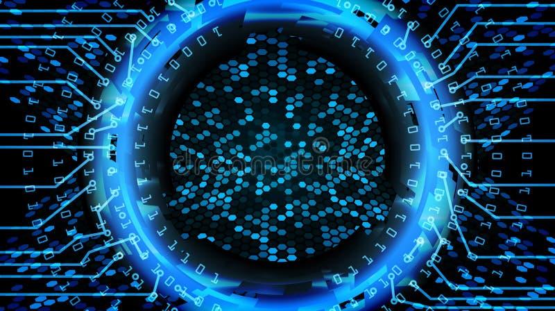 Futur fond de concept de Cyber de technologie Copie abstraite de sécurité Réseau électronique bleu Conception de système de Digit illustration libre de droits