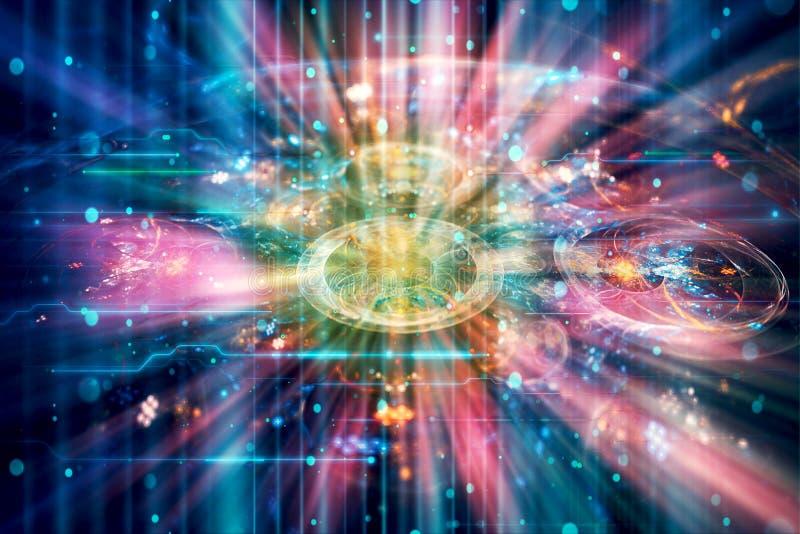 Futur fond visualisé par réseau abstrait de technologie image stock