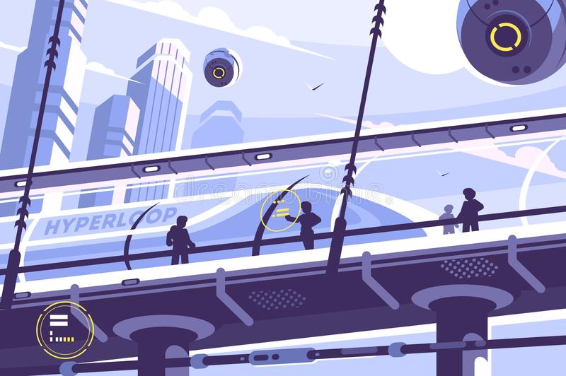 Futur transport en commun de Hyperloop illustration de vecteur