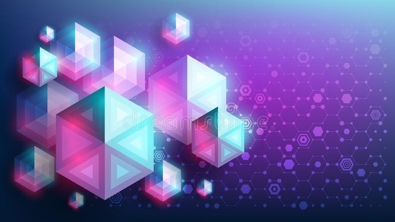 Future. Abstract vector geometric background. Glowing colorful hexagons in the shape of diamonds. Genetic and chemical. stock illustration