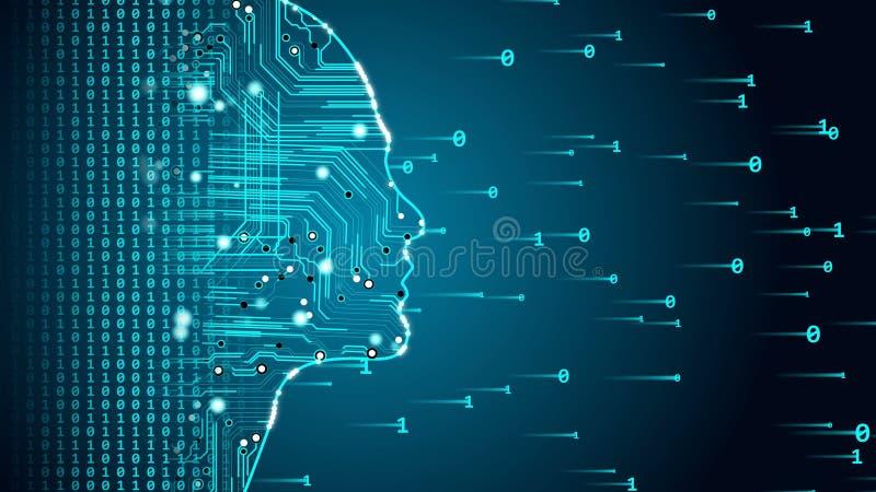 Future AI tech machine learning, human fast digital computing, robot revolution. Stock photo stock illustration