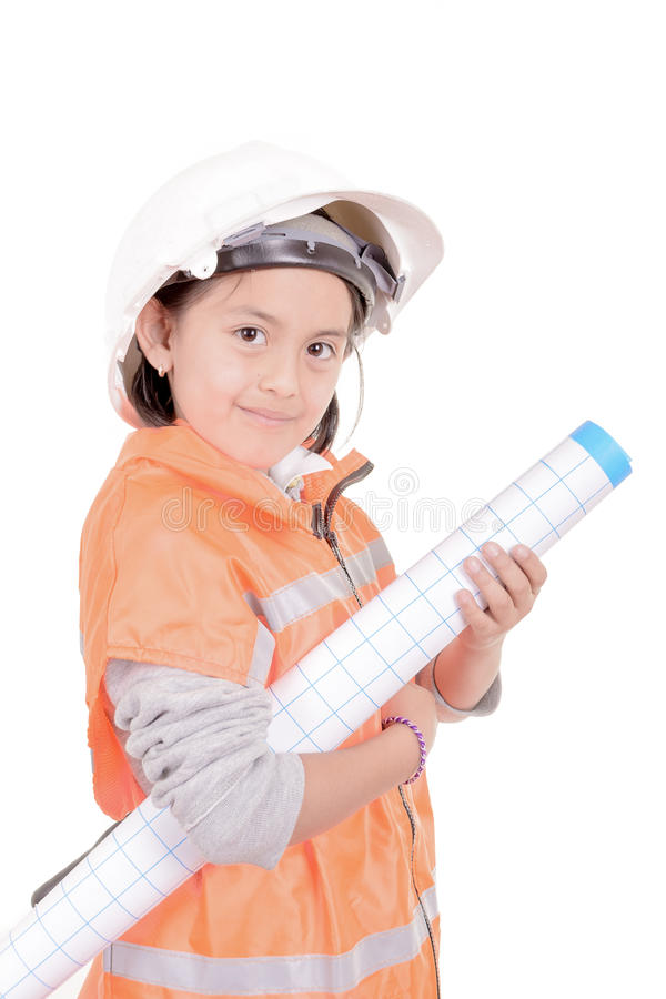 Future architect smiling and holding plans stock photo