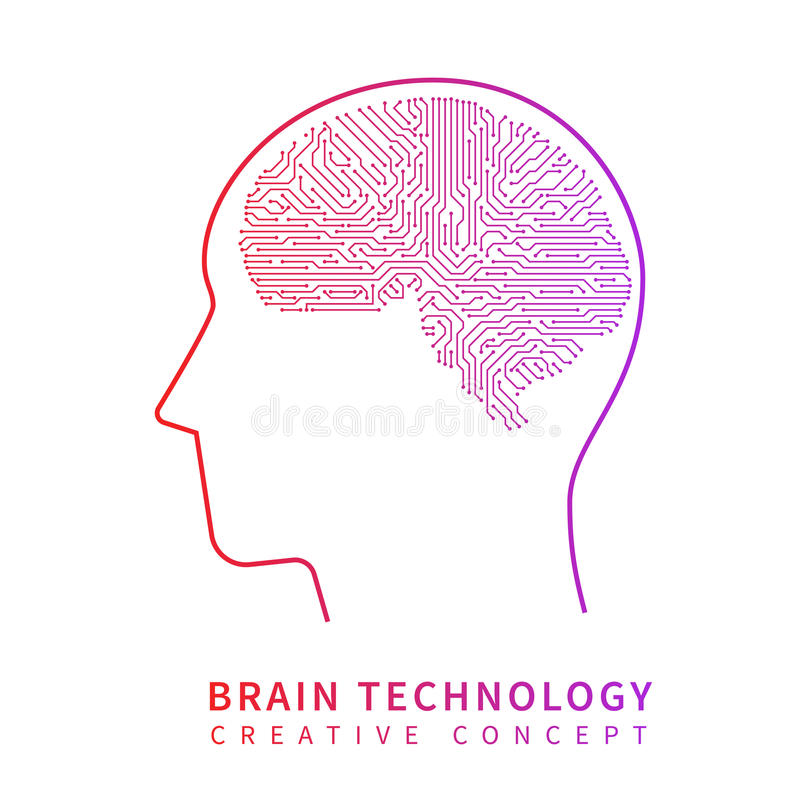 Future artificial intelligence technology. Mechanical brain creative idea vector concept royalty free illustration