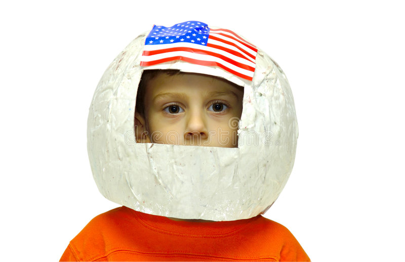 Future Astronaut. Child Wearing A Homemade Paper Astronaut Helmet