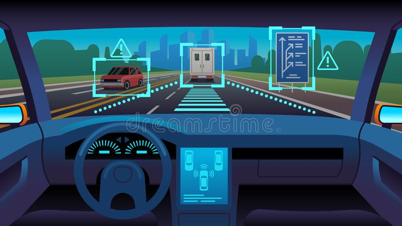 Future autonomous vehicle. Driverless car interior futuristic autonomous autopilot sensor system gps road, cartoon vector illustration