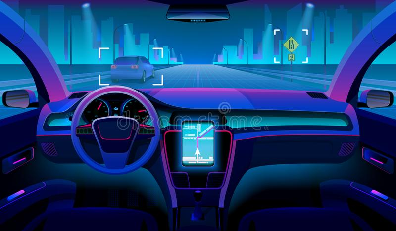 Future autonomous vehicle, driverless car interior with obstacles and night landscape outside. Futuristic car assistant vector illustration