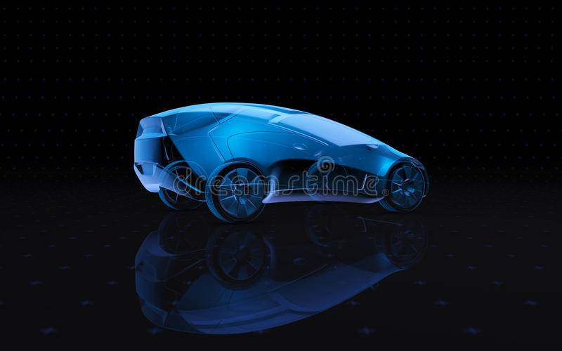 Future blue x-ray concept car. 3d rendering royalty free illustration
