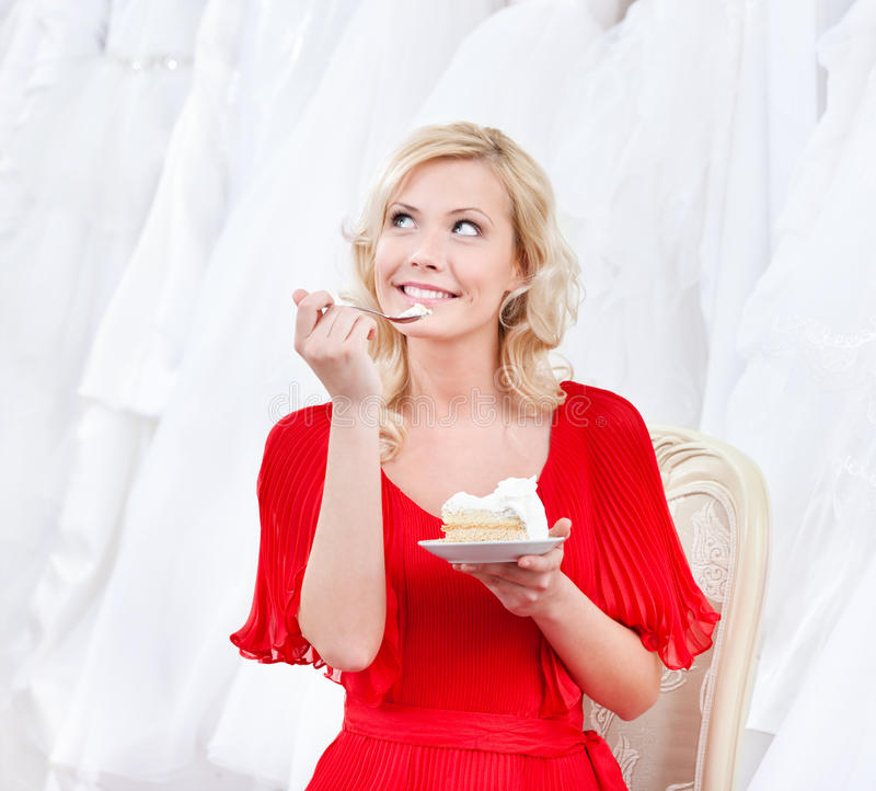 Future bride has the wedding cake stock images