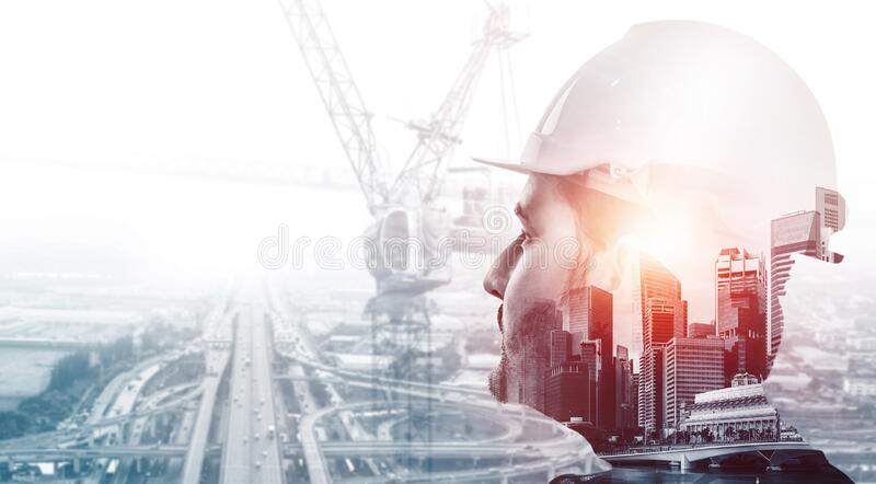 Future building construction engineering project. Concept with double exposure graphic design. Building engineer, architect people or construction worker royalty free stock photography