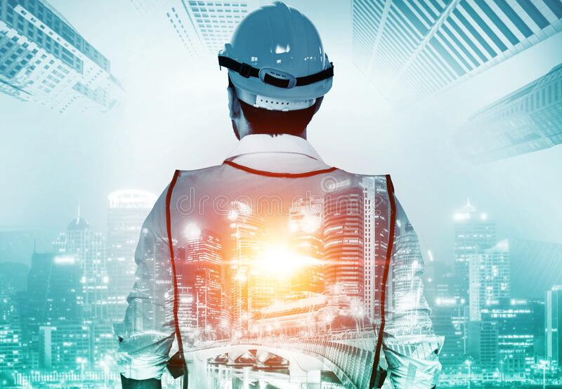Future building construction engineering project. Concept with double exposure graphic design. Building engineer, architect people or construction worker stock images
