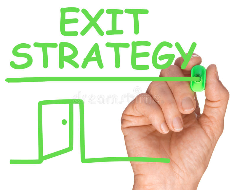 Future Business Hand with Green Pen Writing Exit Strategy stock photo