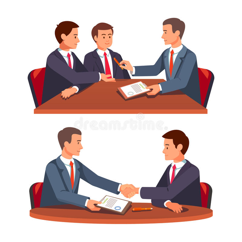 Future business partners signing contract. Businessman shaking hands over a round negotiations tables. Future business partners signing contract. Business vector illustration